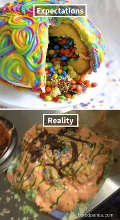 Expectations Vs Reality: 100 failed attempt to make a cake – Funnyfoto Bad Cakes, Expectation Reality, Funny Cake, Funny Fails, No Bake Cake, How To Make Cake, Memes, Cake Decorating, Funny Pictures