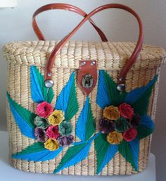 Vintage Straw Large Tote Purse Handbag Colored by BagsnBling, $15.89     remember these baby boomers!
