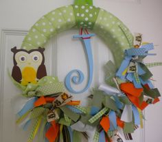 Owls baby ribbon wreath