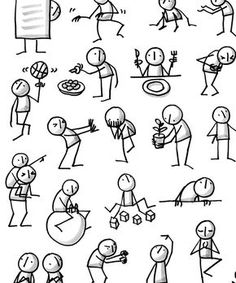 Yoga Sketchnotes, books, posters and pins Online Cartoon Drawings, Easy Drawings, Doodle Art For Beginners, Beginner Sketches, Visual Note Taking, Stick Figure Drawing, Note Doodles, Simple Cartoon, Cartoon People