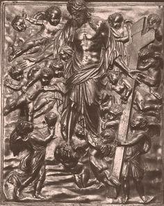 "Jacopo Sansovino. Basilica di San Marco  Jacopo Sansovino (1486-1570) Allegory of Redemption Bronze gilt 1546-1565 43 x 37 cm (16.93"" x 14.57"") Basilica di San Marco (Venice, Italy)"