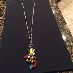 Necklace-Long W/Multi Colored Charms