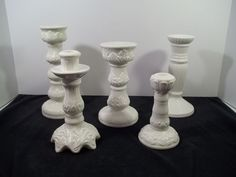 SET OF 5 GRADUATED SIZE WHITE CERAMIC TAPER CANDLE HOLDERS - DECOR or WEDDING! #Unbranded