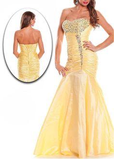 Fantastic Taffeta Mermaid Beaded Strapless Sweetheart Neckline Long Sexy Prom Dress