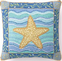 Coastal Starfish Hook Pillow: Beach House Decor, Coastal Decor, Nautical Decor, Coastal Living Boutique, Tropical Decor