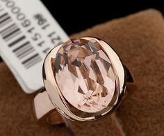 18k Rose Gold Plated Austrian Crystal Fashion Ring with Rhinestone Detail