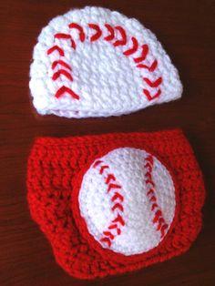 Baseball beanie and diaper cover set Newborn by LittleAquarius, $32.00