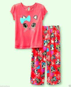 Joe Boxer Baby Girl's Spring Colorful 2 Pc Set PJ's Graphic Kitten  - Sz 12mo