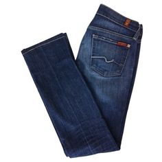 Dark blue straight leg jeans 7 FOR ALL MANKIND ($100) ❤ liked on Polyvore featuring jeans, pants, bottoms, pantalones, deep blue jeans, 7 for all mankind, blue jeans, straight leg jeans and dark blue jeans