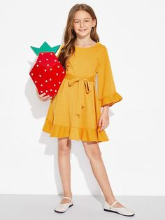 Girls Tie Waist Ruffle Dress Full Skirt Outfit, Skirt Outfits, Cute Outfits, Dress P, Ruffle Dress, Baby Dress, Justice Clothing, Kids Fashion, Fashion Outfits