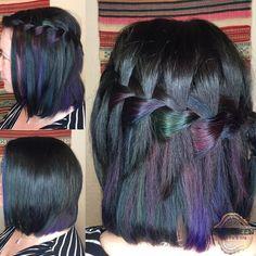 Oil slick purple green blue pink black color short medium bob length straight half side braid hair