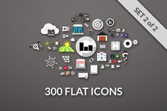 Check out 300 FLAT ICONS by sidmaydesign on Creative Market