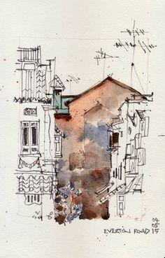 Spaces between buildings. Watercolor Sketchbook, Watercolor Drawing, Art Sketchbook, Watercolor Illustration, Watercolor Paintings, Watercolor Architecture, Architecture Sketchbook, Architecture Art, Landscape Drawings