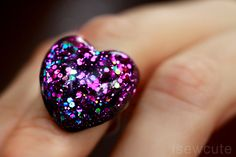 Items similar to Sweetheart Ring Glittery Deep Purple Passion Resin Jewelry Heart With Rainbow Accents - Uniquely Handmade by isewcute on Etsy Resin Jewlery, Making Resin Jewellery, Diy Resin Crafts, Jewelry Crafts, Apple Watch Bands Fashion, Unicorn Fashion, The Violet, Magical Jewelry, Purple Jewelry