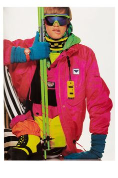 80s Neon Ski Obermeyer Elle Magazine Nov 1989