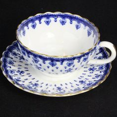 Vintage Spode Copeland Fleur de Lys Blue Gold Trim Cup and Saucer, Blue   eBay
