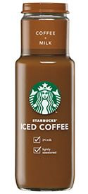 Starbucks Bottled Iced Coffee  115 mg Caffeine  per 11 fl oz bottle  These Iced Coffees are available in 4 flavors:  Iced Coffee + Milk Low Calorie Iced Coffee + Milk Vanilla Iced Coffee Caramel Iced Coffee