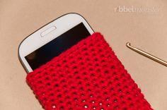 Einfache Handytasche häkeln – Handysocke einfarbig