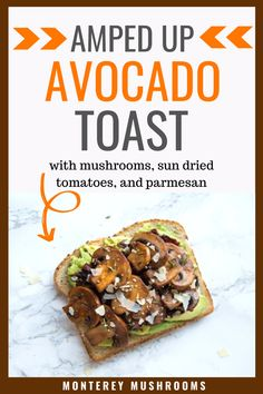 This avocado toast isn't your ordinary plain toast - instead, it's an avocado toast with mushrooms, sundried tomatoes, and paremsan. Try this healthy breakfast recipe soon. Healthy Sandwich Recipes, Grilled Cheese Recipes, Healthy Sandwiches, Healthy Breakfast Recipes, Yummy Snacks, Brunch Recipes, Snack Recipes, Avocado Recipes, Vegetarian Mushroom Recipes