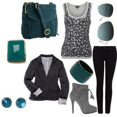 Love this whole grey and turquoise outfit :)