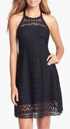 Robin Piccone  Penelope High Neck Crochet Cover Up Dress