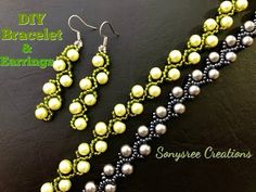 Pearl vine Bracelet & Earrings Updated video for Beginners. Beaded Earrings, Earrings Handmade, Beaded Jewelry, Pearl Earrings, Seed Bead Tutorials, Beading Tutorials, Beaded Bracelets Tutorial, Earring Tutorial, I Love Jewelry