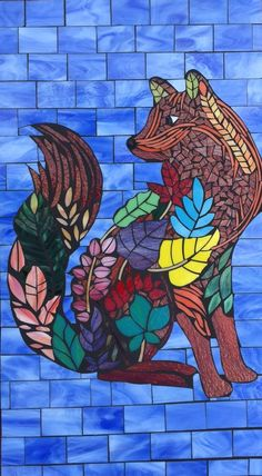 Fox fence mosaic panel. Stained glass on Hardibacker board