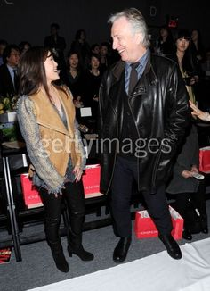 Thursday, February 17, 2011 - Alan Rickman and Rima Horton went to Son Jung Wan's fall fashion show. In this photo, Alan is talking with figure skater Kristi Yamaguchi.