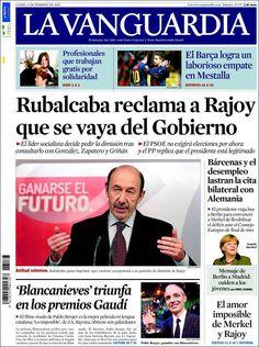 Los Titulares y Portadas de Noticias Destacadas Españolas del 4 de Febrero de 2013 del Diario La Vanguardia ¿Que le parecio esta Portada de este Diario Español?