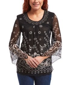 Look what I found on #zulily! Black & Ivory Floral Embellished Scoop Neck Top #zulilyfinds