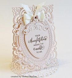 I have one of my favorite cards to share with you today with a brand new die from Becca Feeken's new Chantilly Paper Lace collection c. Becca Feeken Cards, Cumpleaños Diy, Tattered Lace Cards, Spellbinders Cards, Fru Fru, Easel Cards, Marianne Design, Heartfelt Creations, Cute Cards