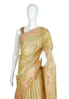 Beige Tussar Silk Saree with Pink Cut Work Design 2 – Desically Ethnic