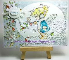"Frozen Greeting Card with ""Winter Fairy"" Whimsy Stamps; DesignerpaperDovecraft;  Glitter Paper Rayher; Snowflake Die ""Snow Crystals"" Leane Creatif and ""Snowflake Corner"" Wild Rose Studio; Sentiment ""Allgemeine Grüße klein"" Iris-istible; colored with TwinklingsH2O"