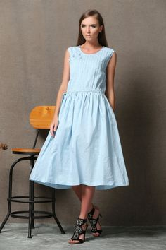 Blue Linen Dress - Powder Blue Sleeveless Pintuck Midi Length Summer Dress with Drawstring Waist C549