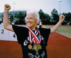 Margaret Hinton, a track athlete from Baytown, Texas .. age 82 - Senior Olympian. Inspiring!