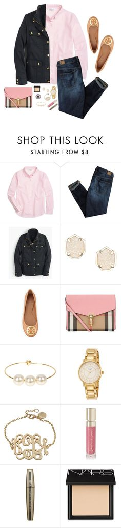 """Happy v day y'all!"" by sevenpreppygirls ❤ liked on Polyvore featuring Brooks Brothers, American Eagle Outfitters, J.Crew, Kendra Scott, Tory Burch, Burberry, Converse, Jules Smith, Kate Spade and Smith & Cult"