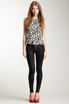frankie b. peplum dotted shirt red shoes and leather pants