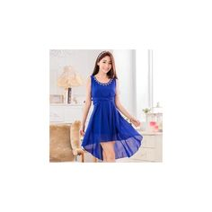 Sleeveless Embellished Chiffon Party Dress (43 CAD) ❤ liked on Polyvore featuring dresses, women, blue sleeveless dress, blue dress, no sleeve dress, sleeveless chiffon dress and blue embellished dress
