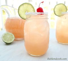 Cherry beer margarita...made with frozen limeade, cherry 7up, beer, and tequila.