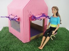 Diy Home Decor Dollar Store Free Barbie, Barbie Dolls Diy, Barbie Doll House, Diy Doll, Barbie Clothes, Tent Chair, Diy Chair, Diy Camping, Tent Camping