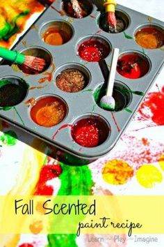 The perfect homemade paint recipe for fall, fun and safe for all ages. Fall Sticky Paints - Recipe for Play I have to admit that . Fall Art Projects, Projects For Kids, Science Projects, Autumn Activities, Activities For Kids, Eyfs Activities, Indoor Activities, Infant Activities, Classroom Activities