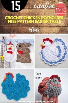 Chevron Crochet Patterns, Crochet Potholder Patterns, Crochet Cat Pattern, Free Pattern, Crochet Appliques, Knitting Patterns, Easter Crochet, Crochet Crafts, Crochet Projects