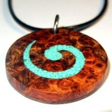 Wanderlust: Unwind Sun, sand, surf, and rich history and culture. This is a unique Polynesian inspired handmade pendant crafted from Amboyna Burl. The centre is crushed turquoise. Wooden Jewelry, Beaded Jewelry, Wooden Necklace, Unique Jewelry, Amboyna Burl, Wood Rings, Pendant Earrings, Turquoise Stone, Jewelery