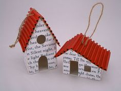 little houses   from flickr  patchwork pottery  corrugated paper for roof, Chr. carol copy for walls