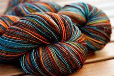 "Sock yarn - 75/20/5 SW Merino/Nylon/Stellina - Logophile Series - ""Hamartia"""