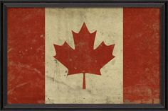 Canadian Flag by Artwork Enclosed at Gilt Vintage Flag, Vintage Signs, Framed Wall Art, Framed Prints, Blue Line Flag, Flag Art, Flags Of The World, Flag Banners, Flag Design