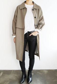 Photo via: Death By Elocution Obsessed with this killer trench coat look! The white knit, coated skinny jeans and pointed-toe Acne Studios boots give the outfit a downtown-cool feel. Get the look: + E