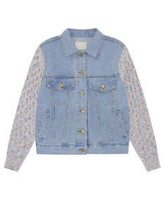 Pink Knitting Sleeves Denim Coat