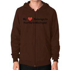 Zip Hoodie (on man) - Hartford Heart