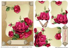 Card Front Shaped Celebration Roses on Craftsuprint designed by Carol James - A very versatile topper. Some pyramage pieces for that 3d effect. 2 Sentiments tags - 1 with 'Thinking Of You' and the other a blank tag for your own sentiment. - Now available for download!